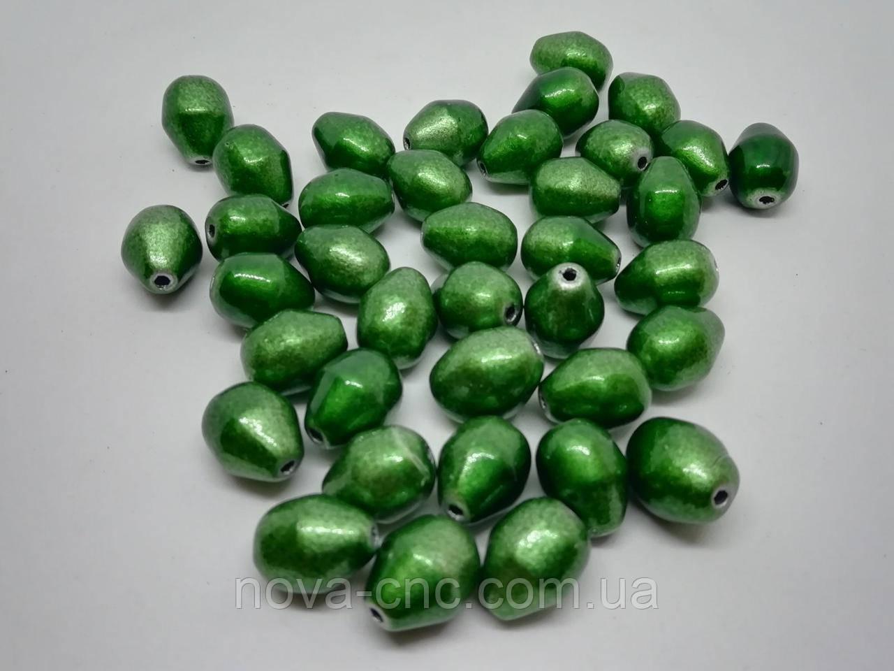 """Бусины пластик """"Груша"""" зеленый 12 мм 500 грамм"""