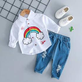 Стильный  костюм двойка  на мальчика   рубашка+ джинсы весна-осень 2-3 года  Радуга