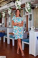 Летнее прямое женское платье до колена больших размеров 48-62 арт 154