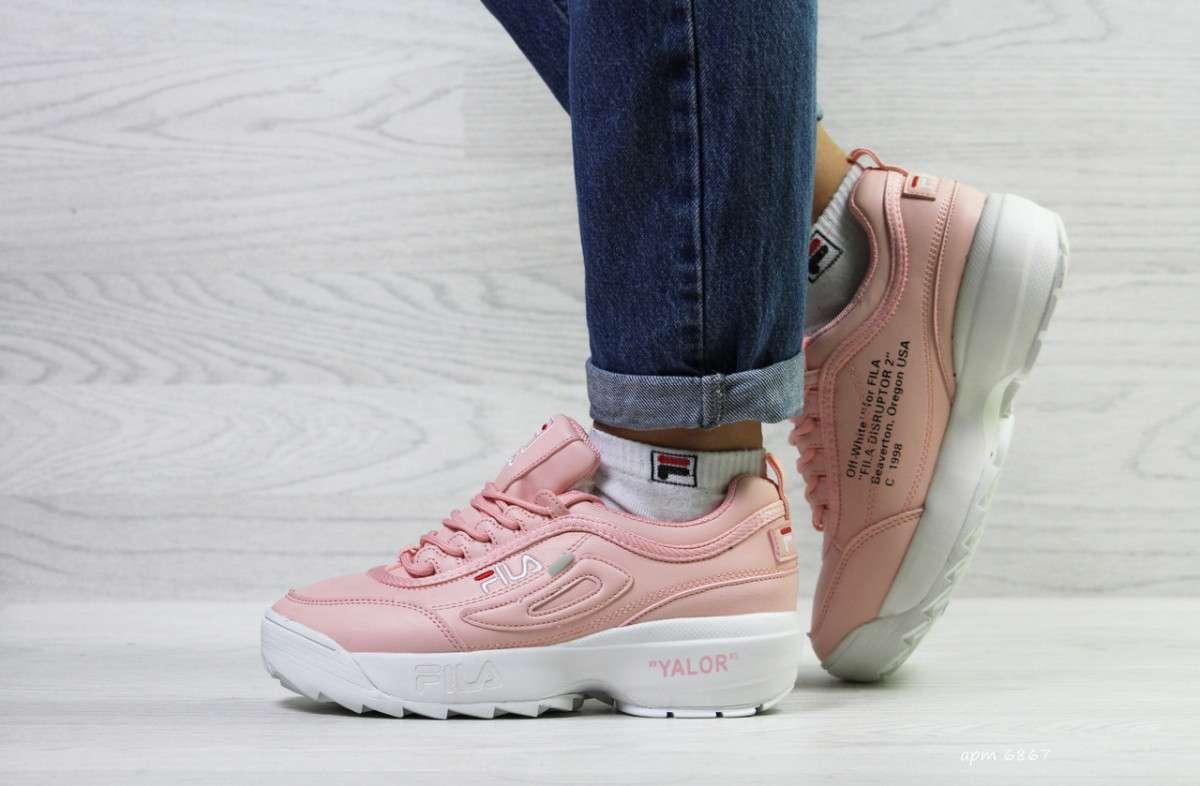 Женские зимние розовые кроссовки 6867