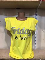 """Футболка женская  с принтом FRIDAY IS HERE, р.42-46(6цв.) """"LEDI"""" купить недорого от прямого поставщика, фото 1"""