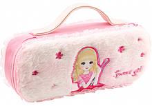 Пенал-сумка пушистый с аппликацией (7471-pink)