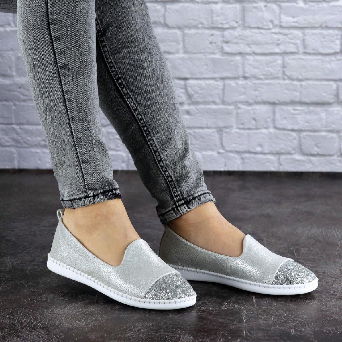 Женские кожаные серебристые туфли Tweety 1783