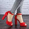 Женские красные босоножки на каблуке Danny 1748, фото 2