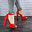 Женские красные босоножки на каблуке Danny 1748, фото 5