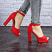 Женские красные босоножки на каблуке Danny 1748, фото 6