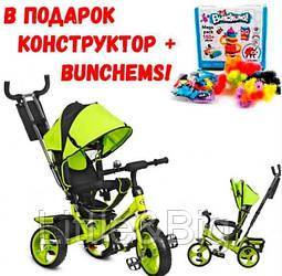 Детский трехколесный велосипед Ева колеса Turbo Trike M 3113-4 с родительской ручкой зеленый