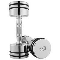 Гантель хром,  резиновое кольцо 6кг (цена за 1шт)