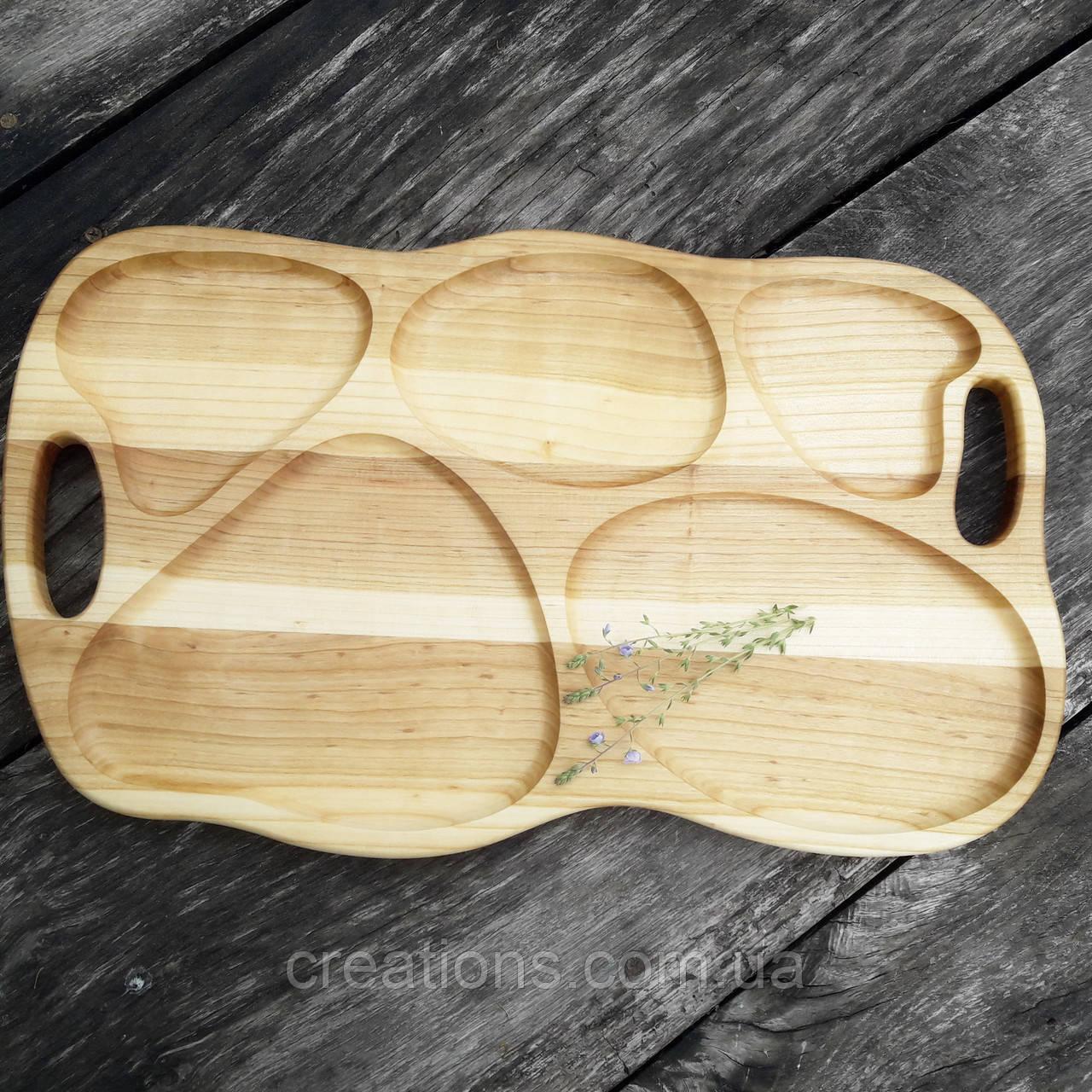 Поднос - менажница деревянная 50х30 см. фигурная на 5 секций для сервировки из черешни, ясеня