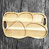 Поднос - менажница деревянная 50х30 см. фигурная на 5 секций для сервировки из черешни, ясеня, фото 2