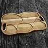 Поднос - менажница деревянная 50х30 см. фигурная на 5 секций для сервировки из черешни, ясеня, фото 3