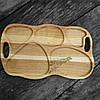 Поднос - менажница деревянная 50х30 см. фигурная на 5 секций для сервировки из черешни, ясеня, фото 4