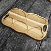 Поднос - менажница деревянная 50х30 см. фигурная на 5 секций для сервировки из черешни, ясеня, фото 5