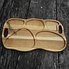 Поднос - менажница деревянная 50х30 см. фигурная на 5 секций для сервировки из черешни, ясеня, фото 6