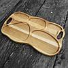 Поднос - менажница деревянная 50х30 см. фигурная на 5 секций для сервировки из черешни, ясеня, фото 8
