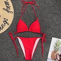 Красный раздельный купальник бикини лиф с поролоновыми вставками. Р-ры: S, M
