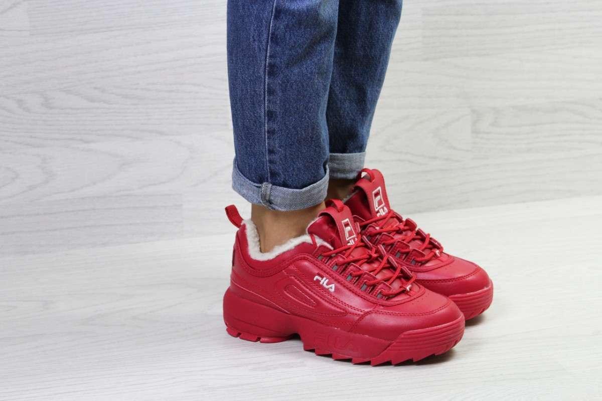 Женские кроссовки на зиму красные 6799