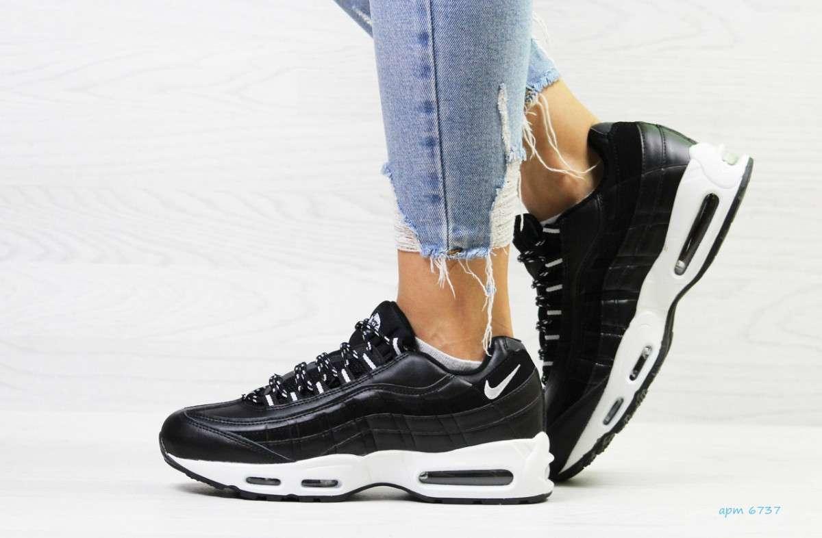 Женские кроссовки на зиму черные с белым 95 6737