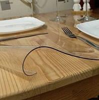 Мягкое стекло Силиконовая защитная скатерть для стола и мебели Soft Glass (1.3х1.0м) Толщина 2мм Прозрачная