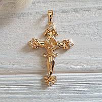 🔥✅Крест с камнями мужской. Позолота 18 К Xuping, медицинское золото, ювелирная бижутерия, крестик