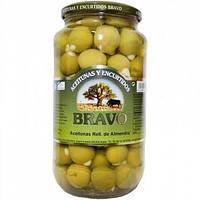 Оливки Bravo Aceitunas Verdes, фаршировані цільним мигдалем, 1 кг
