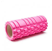 Ролик массажный для йоги, фитнеса РОЗОВЫЙ.  Ролик для спины и ног. Роллер для йоги.