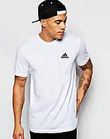 """Мужская футболка """"Adidas"""" белая с маленьким принтом Адидас"""