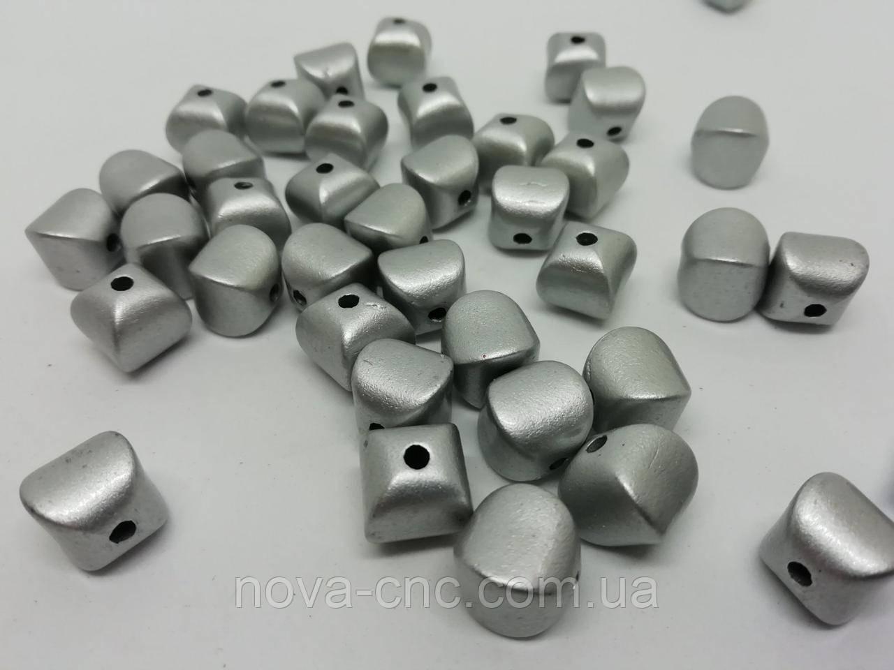 """Намистини пластик """"Камінчик-ліхтарик"""" сріблястий 11 мм 500 грам"""