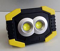 Прожектор аккумуляторный + solar LED светодиодный 8W COB 100-150Lm 6500K IP44 желто-черный/ LMP91, фото 1