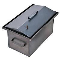Коптильня с гидрозатвором 2 уровня и поддон 450х260х210 металл 1мм, крышка домиком для конденсата