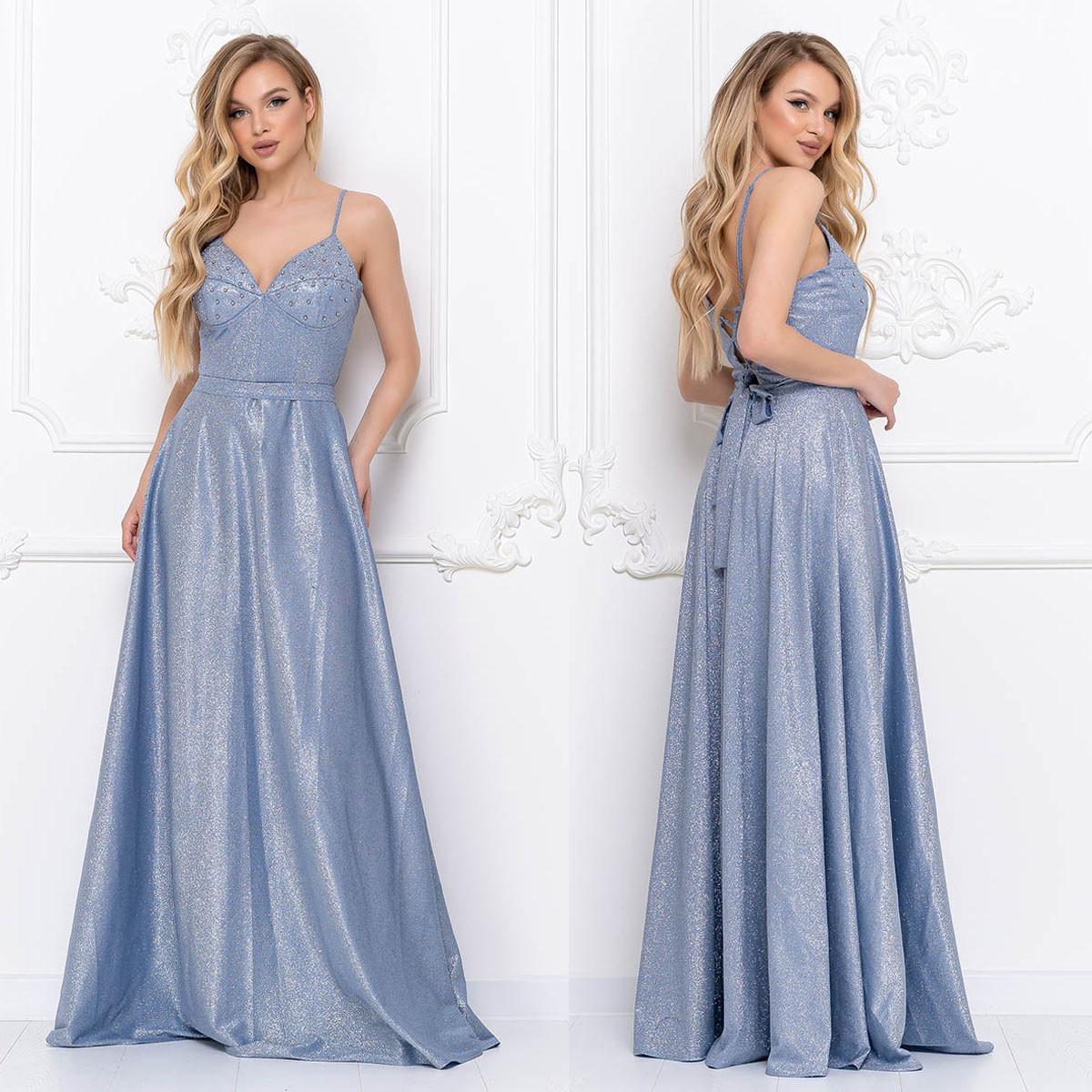"""Довге вечірньо блакитне плаття на бретелях """"Жасмин"""""""