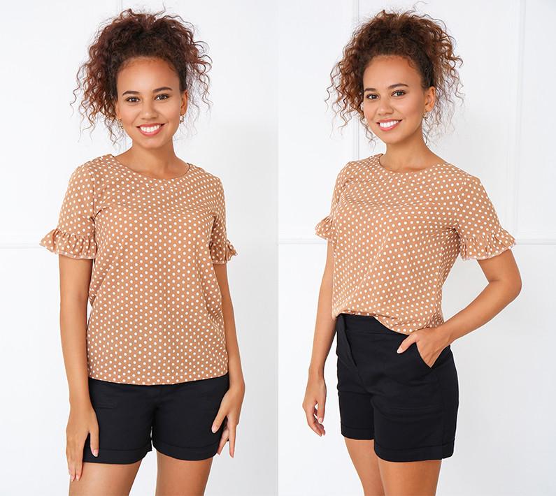 """Блуза в горошек с коротким рукавом """"Ненси""""    Распродажа модели"""
