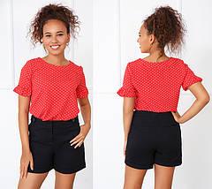 """Блуза в горошек с коротким рукавом """"Ненси""""    Распродажа модели, фото 2"""