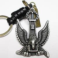 """Брелок для ключей """"Орёл"""" (58х40мм). Металл с кожаными вставками., фото 1"""