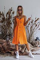 Сарафан женский модный на пуговицах с завязками на груди оранж 328