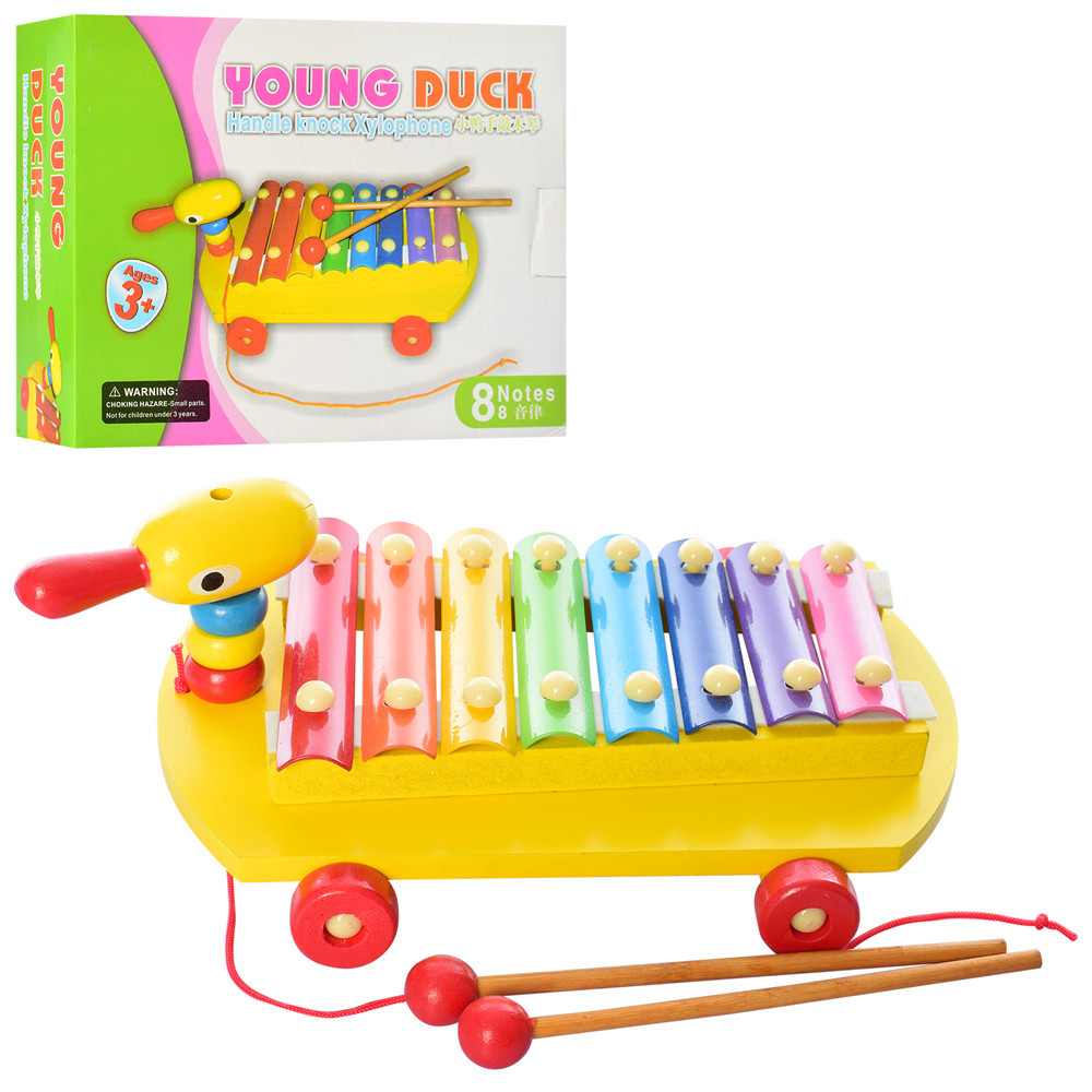 Деревянная игрушка Ксилофон MD 2132  28см,8тонов, уточка-каталка,палочки, в кор, 24,5-19-8,5см
