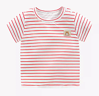 Детская футболка с короткими рукавами из хлопка Красня Полоска (размеры 1-4 года)