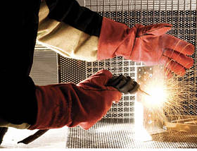 Перчатки (краги) сварщика Červa кожа SANDPIPER 35 см красные, фото 3