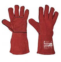 Перчатки (краги) сварщика Červa кожа SANDPIPER 35 см красные, фото 2