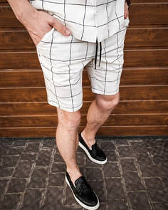 """Мужские шорты """"клетка"""" - белые"""