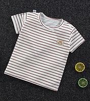 Детская футболка с короткими рукавами из хлопка Коричневая Полоска (размеры 1-4 года)