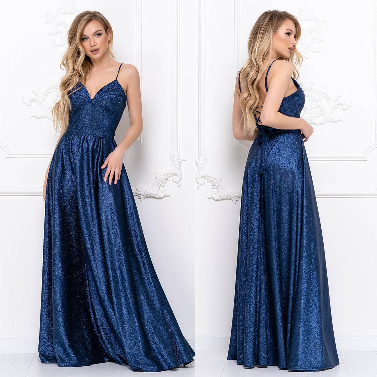 """Сукня блискуче синє вечірнє максі """"Жасмин"""""""