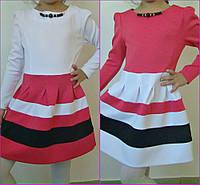 Детское трикотажное платье с длинным рукавом / розовое