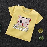 Детская футболка с короткими рукавами из хлопка Котик (размеры 1-4 года)
