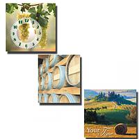 Часы настенные на холсте 3х секционные Солнечная Тоскана (30*30см 1 секция)
