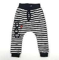 Детские трикотажные штаны для мальчика 92/98 2-3 года в полоску черно-белые