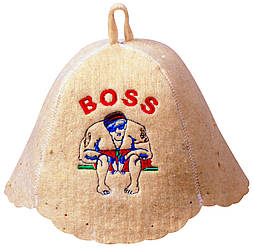 """Шапка для лазні з натурального войлока """"BOSS"""""""