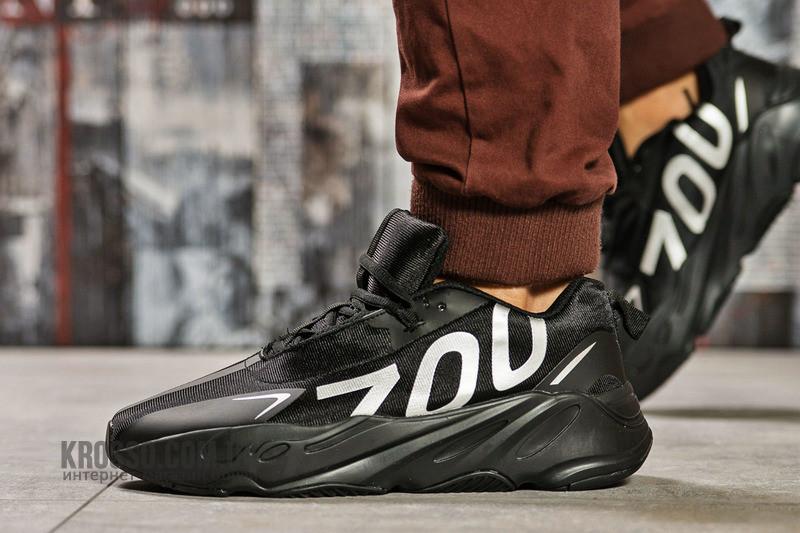 Кроссовки мужские Adidas Yeezy Boost 700 в стиле Адидас Изи Буст ЧЕРНЫЕ (Реплика ААА+)