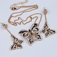Комплект серьги и кулон Бабочки с эмалью