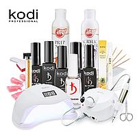 Набор для ногтей гель лаком Kodi с UV-LED лампой SUN 5 48 Вт и Фрезером